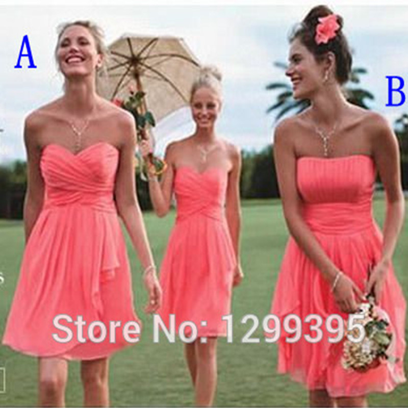 Aliexpress.com : Buy Short Real Chiffon Short Coral Bridesmaid ...