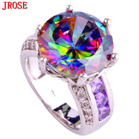 Engagement Jewelry Women Multi Color Rainbow Sapphire 925 Silver Ring Size 6 7 8 9 10