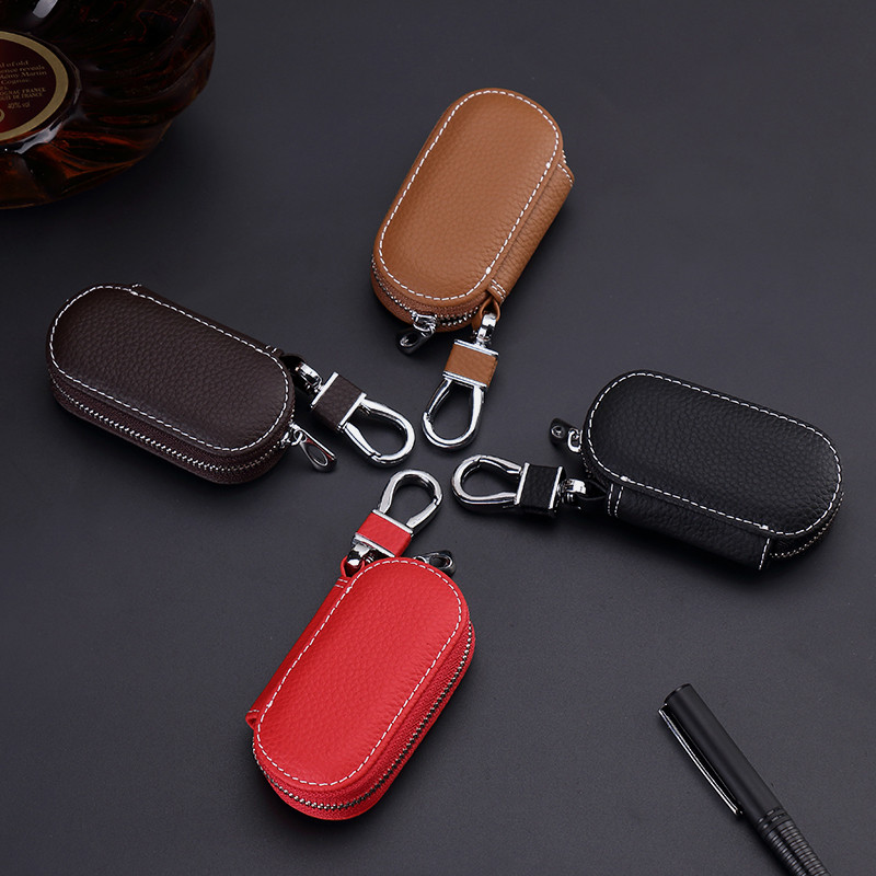 Genuine Leather Car Key Bags Fashion Men Women Car Holder Housekeeper Wallet Keychain Covers Zipper Key Case Bags Pouch Purse in Key Wallets from Luggage Bags