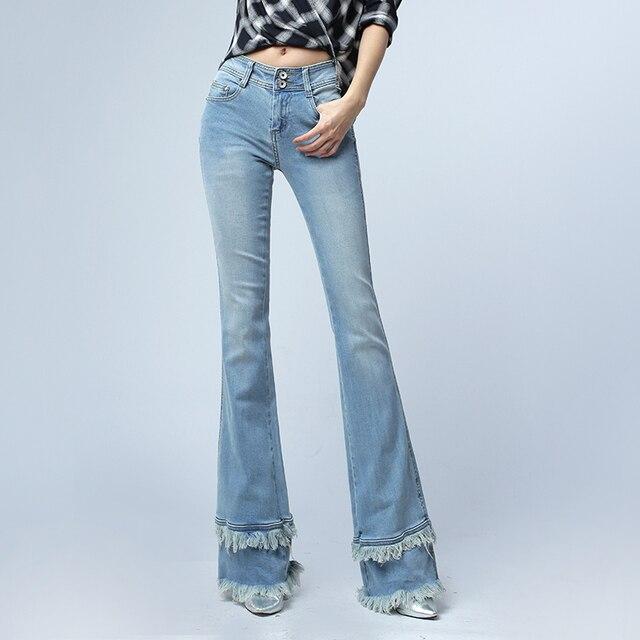 2017 New Fashion Women High-end Denim Jeans Vintage Slim Flare Jeans tassel Denim Pants Plus Size 25-32 E497