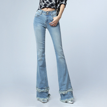2017 New Fashion Women High-end Denim Jeans Vintage Slim Flare Jeans tassel Denim Pants Plus Size 25-32 E497