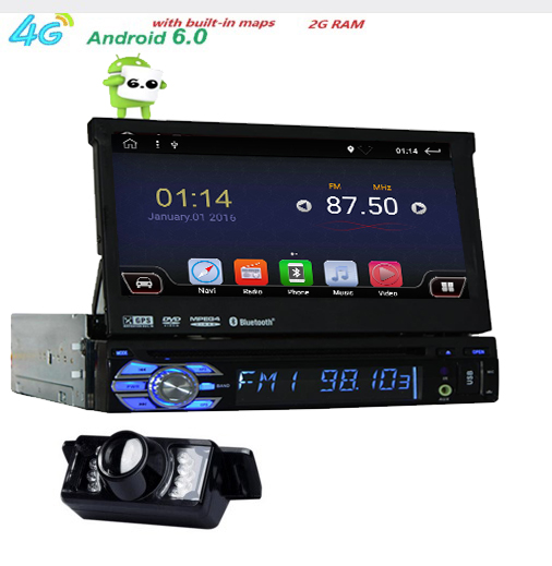 Universal 1 din Android 6.0 Quad Core Car DVD player GPS Wifi BT Radio BT 2GB RAM 32GB ROM16GB 4G SIM Network Steering wheel RDS