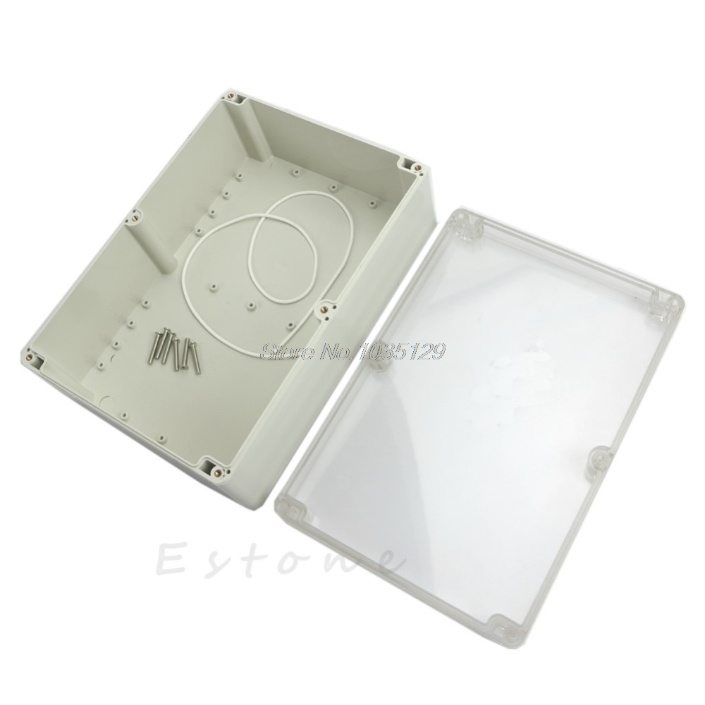 Hot 265x185x95mm Waterproof Clear Plastic Electronic Project Box Enclosure DropShip-in Cable End