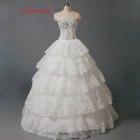 2015 Sparkling Diamond Princess Married Bandage Tube Top Bride Rhinestone Wedding Dress