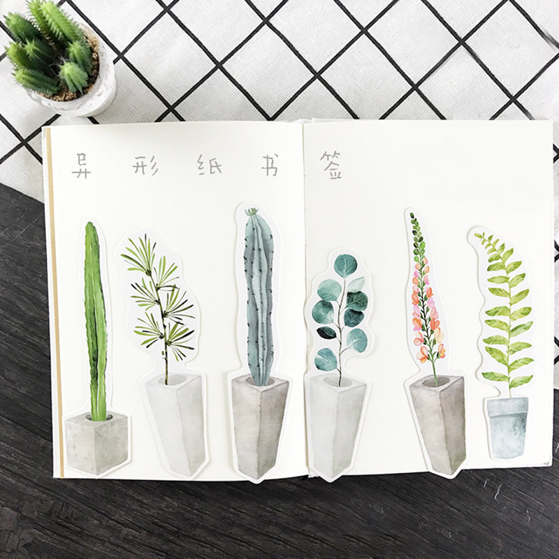 30 Pcs/lot (1 Bag) Cute Kawaii Plant Paper Bookmark Creative Cactus Book Markers Korean Stationery Student 3172