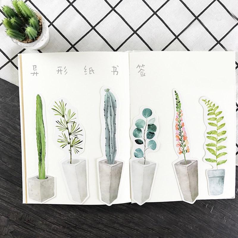 30 Pcs/lot (1 Bag) Cute Kawaii Plant Paper Bookmark Creative Cactus Book Markers Korean Stationery Student 3172