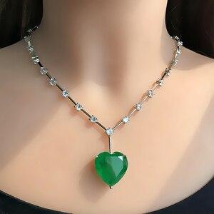 Image 4 - יוקרה ירוק כחול לב היתוך אבן תליון שרשרת לנשים וגרם מעוקב Zirconia chockers שרשרת תכשיטים bijoux