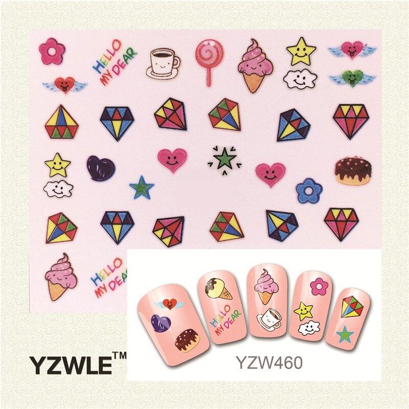 YZWLE Fashion Style 1 Sheets 3D Design Cute DIY Cartoon Colorful Diamonds Tip Nail Art Nail Sticker  Manicure Nail Tools