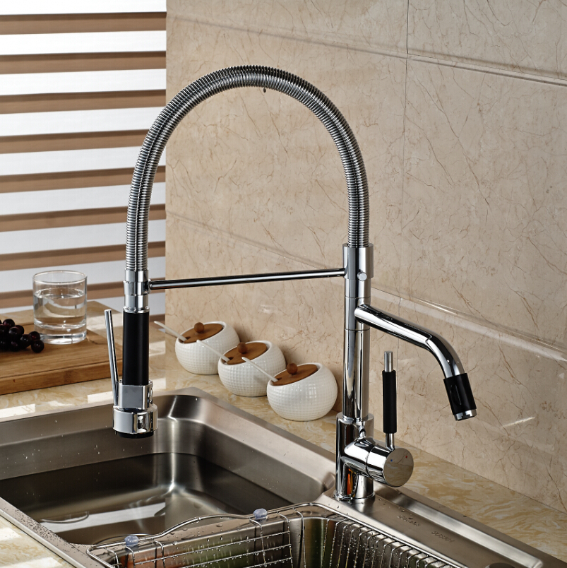 Chrome Finished Pull Out Kitchen Sink Faucet Rotation Kitchen Mixer Taps Deck Mount Single Handle good quality chrome finished pull out