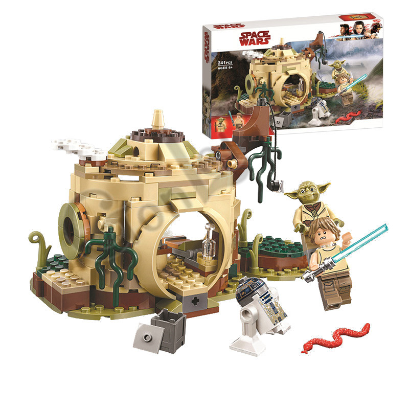 2019 NEW Star Bricks Wars Yoda's Hut Luke Skywalker R2-D2 Building Block 241pcs Toys Gifts Compatible  75208 StarWars