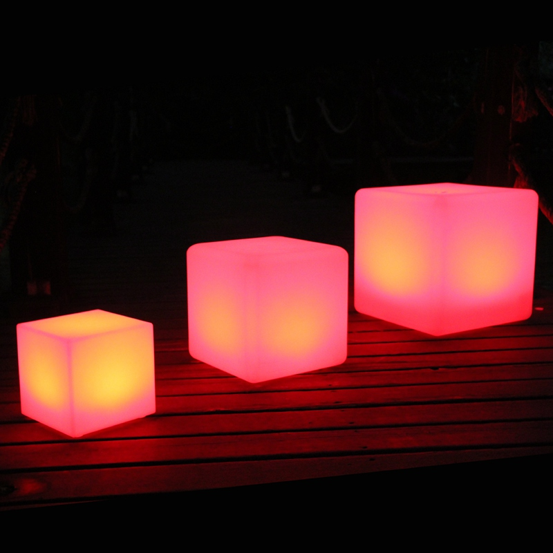 D10 D13 D15 20cm RGBW color rechargeable illuminated cube Waterproof Decorative led cube lighting Free shipping 1pc in Table Lamps from Lights Lighting