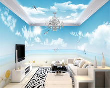beibehang Thicken sound-absorption personality wallpaper blue sky white clouds romantic beach theme space full house wall paper