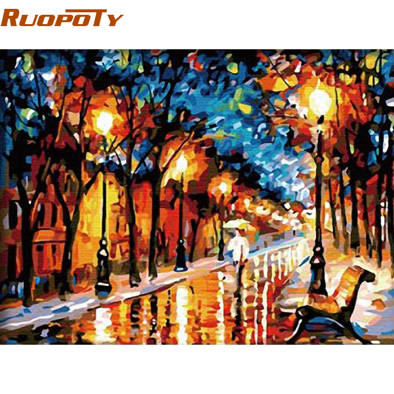 RUOPOTY Walking Rain DIY maalimine numbrite järgi Abstract Modern maalitud õlimaal lõuendil Home Wall Decor elutuba
