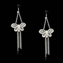 2017 new fashion butterfily Silver earring female handmade gothic elegant white lace flower drop earrings For Women Jewelry