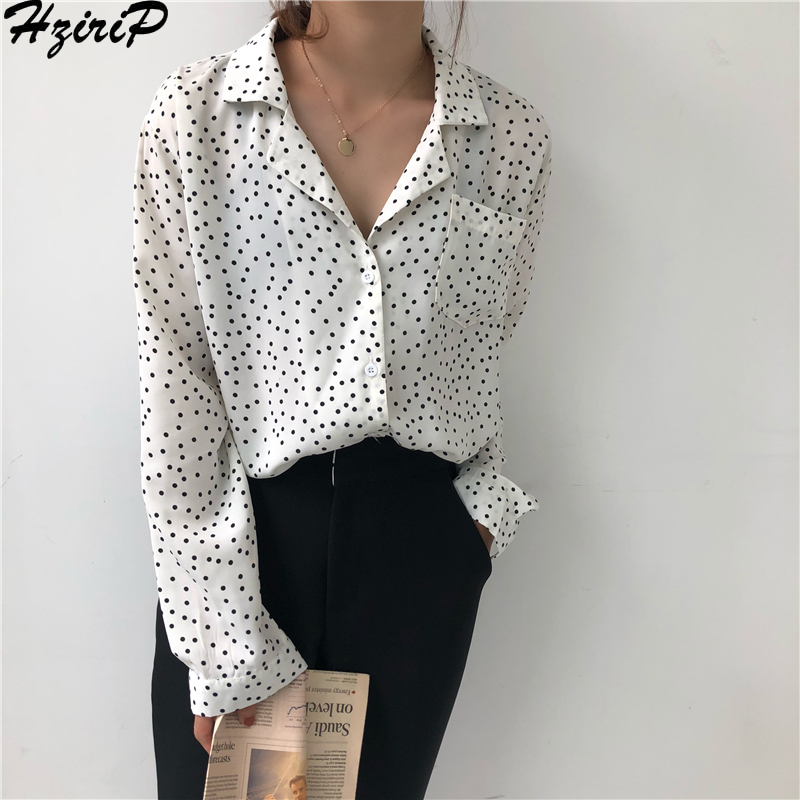 Hzirip Korean Chic 2019 Spring Female Loose All-Match Retro Single Breasted Casual Free Polka Dot Simple Shirts 2 Colors