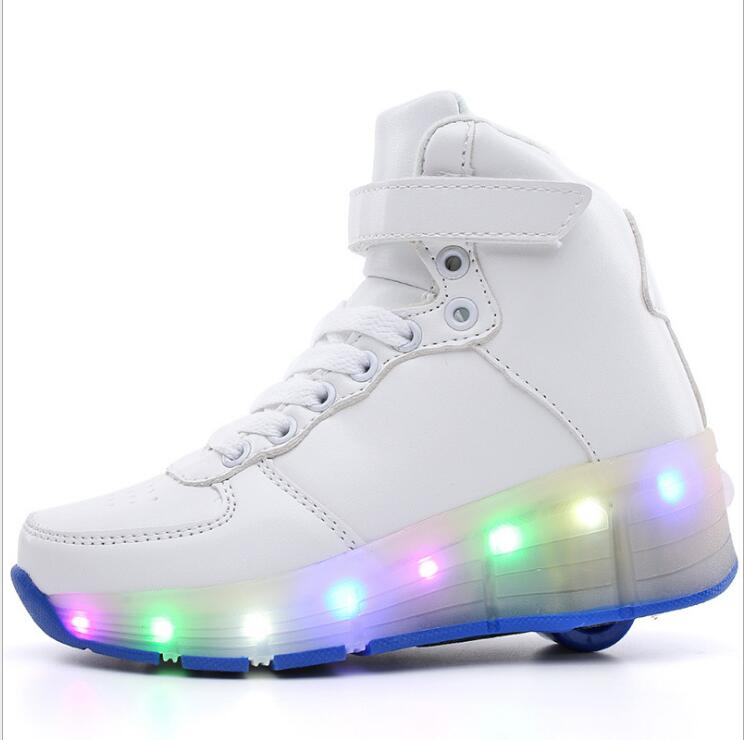 Boys Girls PU leather Single Wheel Glowing Roller Skate Sneakers LED Light Shoes Little Kids/Big Kids USB Flashing Board 30-39