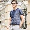 Man T Shirt 70 Cotton 30 Natrual Silk High Quality Summer Male Fashion Tee Navy Blue