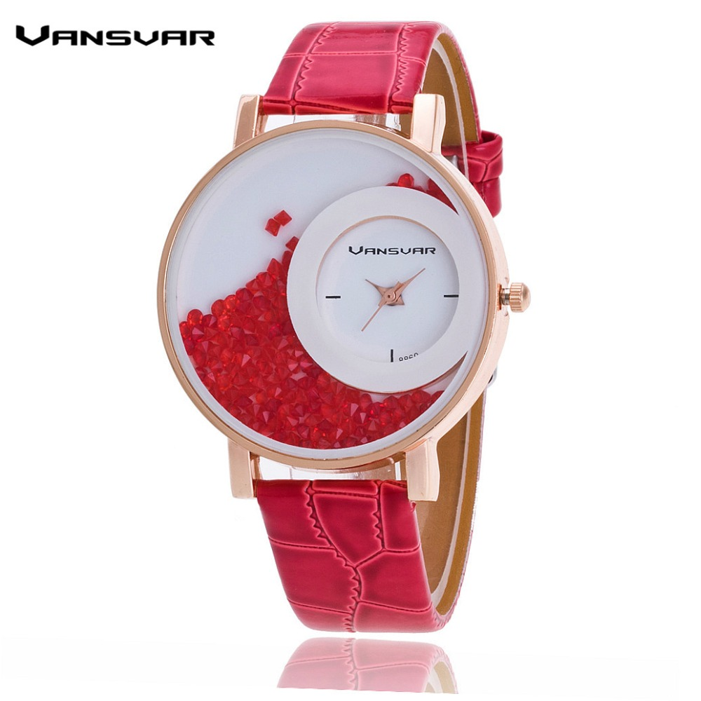 Vansvar Fashion Leather Strap Women Rhinestone Wrist Watch Casual Women Dress Watches Watched Hot Relogio Feminino BW656 bamboo wood watches for men and women fashion casual leather strap wrist watch male relogio