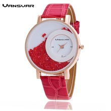 Vansvar Fashion Leather Strap Women Rhinestone Wrist Watch Casual Women Dress Watches Watched Hot Relogio Feminino