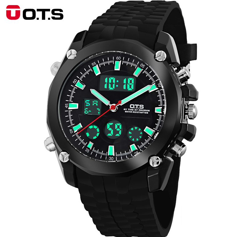 2016 Brand O.T.S Fashion Outdoor Sport Waterproof LED Mens Clock Digital & Quartz Men Watches With Rubber Band 8121 reloj hombre 2016 brand o t s fashion outdoor sport waterproof led mens clock digital