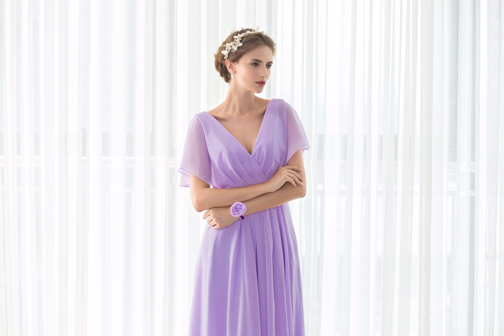 Real Pictures robe honneur Long Lilac Bridesmaid Dresses Short Sleeves V neck Floor Length Chiffon Bridesmaid Gown Free Shipping 10
