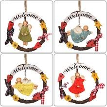 4pcs/Vintage Style Door Hanging plate Home Decorations angle girl Welcome Sign hangings welcome logo Decoration Ornament