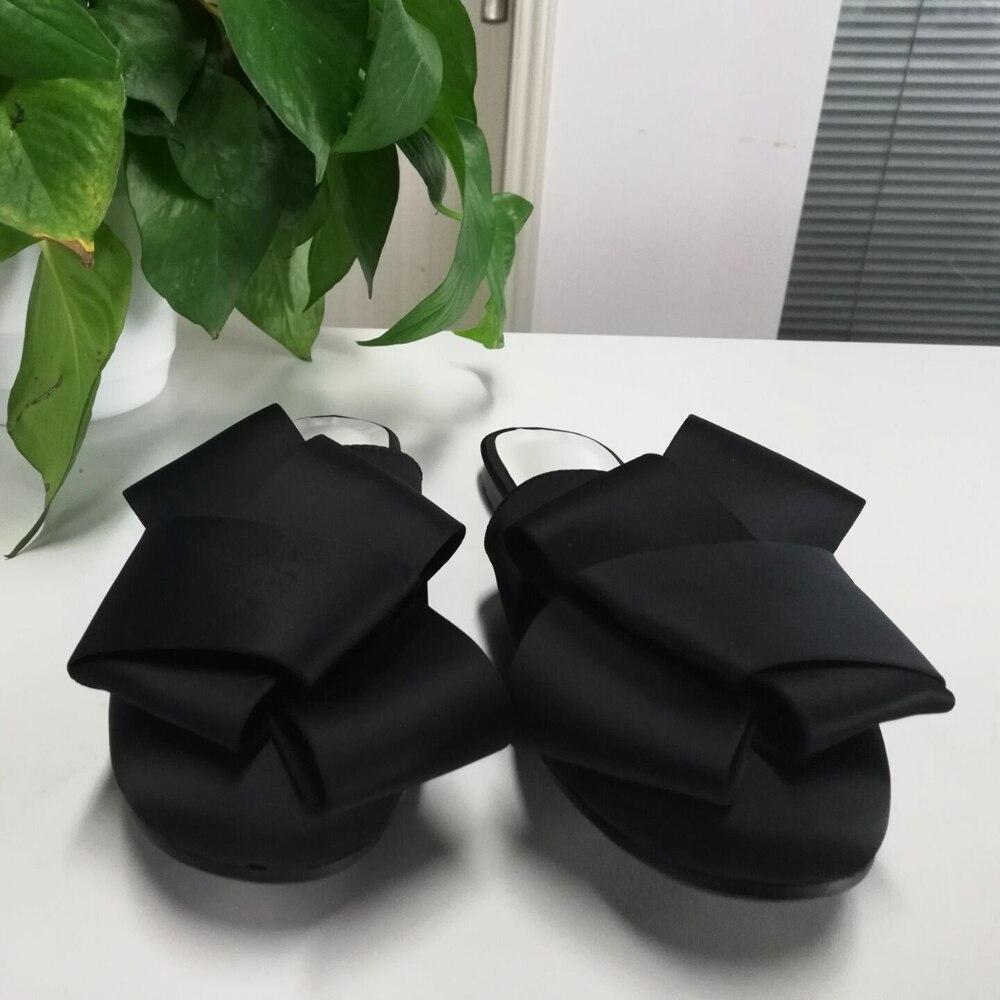 MAVIRS Märke Kvinnor Mössor Tofflor 2018 Mode Satin Bow Flats - Damskor - Foto 4