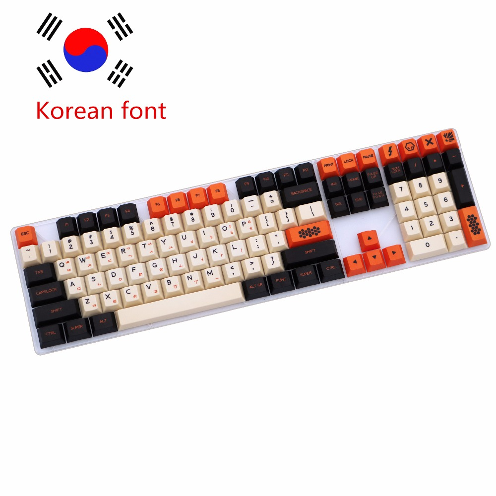 Carbon 125/172 Keys PBT Keycap Dye-Sublimated Korean Typeface Cherry MX Switch Keycap For Mechanical Gaming Keyboard