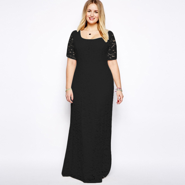2XL 9XL Party Dress Plus Size Women Long Black Lace Elegant Maxi Ladies  Dresses 4XL 5XL 6XL New Year Robe Longue Femme
