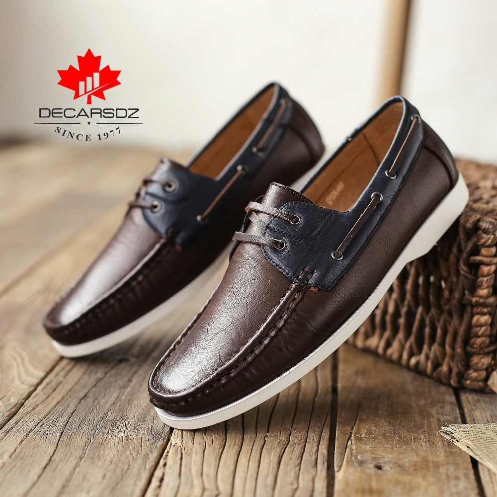 2020 جديد محرك أحذية بدون كعب مريح موضة مختلط Clors فاخر جلد قارب أحذية مريح الرجال حذاء كاجوال حذاء رجالي أحذية