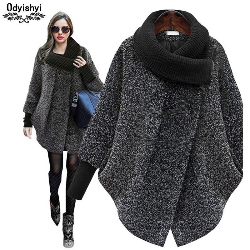 Knitted turtleneck Large size autumn-winter Woolen coat women woolen 2018 thick cashmere female jacket manteau femme hiver HS293