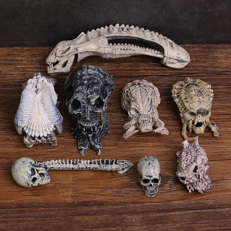 AVP Alien vs Predator Skull Skeleton PVC Figures Collectible Model Toys 8pcs/set 6pcs set alien vs predator mini classic predator pvc brinquedos collection figures toys with retail box anno00395a