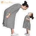 Семья Соответствующие Наряды, ребенок и мама платье ночная рубашка, платье девушки, женщины дети пижамы, полоса, Мать и Ребенок платье, Девушки Одежда
