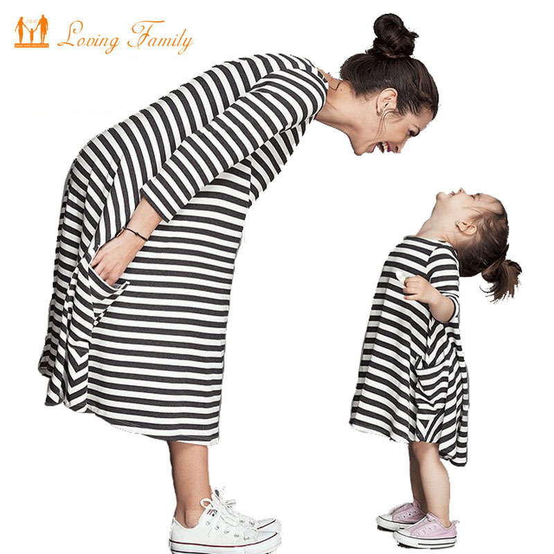 Family Matching Outfitsbaby and mom dress nightygirl dresswomen kids pajamasstripeMother ...