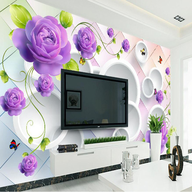 3D Purple Rose Flower Wallpaper Photo Murals For Living RoomMural Home Improvement Wall Papers