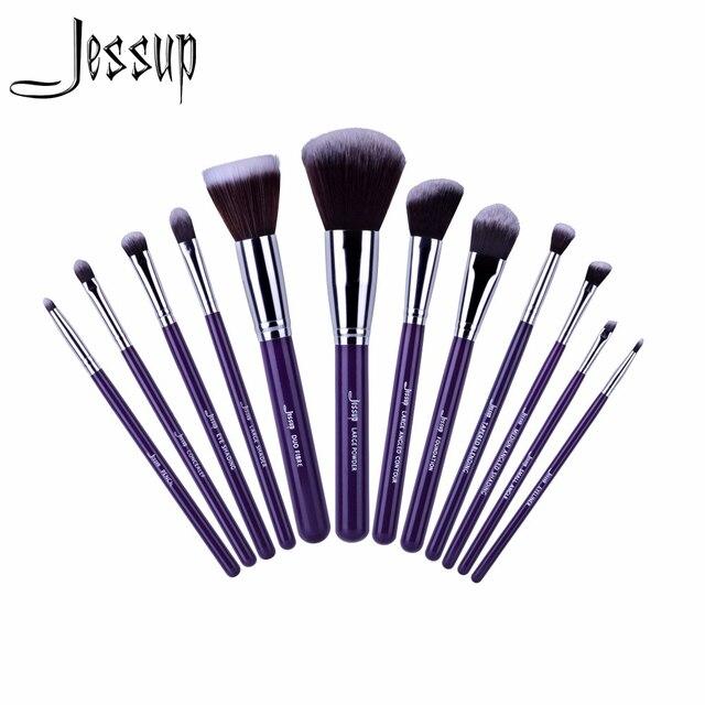 2017 Nova Jessup 12 pcs Pro Makeup Cosméticos Set Fundação Eyeshadow Escova de Madeira Ferramentas Blush T087