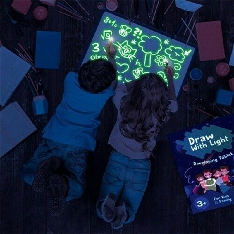 A4 Magic Drawing Board Set In Dark Children Funny Toys Draw With Light Writing Educational Russian Language Noctilucent Kids
