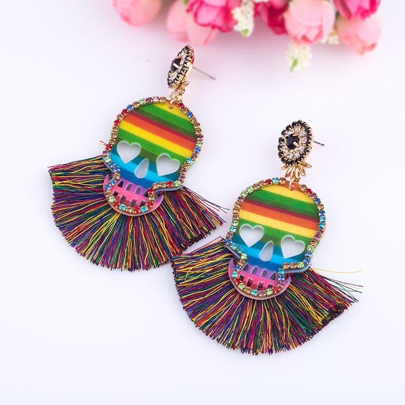 2019 New Design Skull Tassel Earrings For Women BOho Ethnic Crystal Silk Fabric Long Dangle bohemian statement ear Jewelry (3)