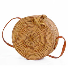 Hot Sale Women Woven Round Rattan Straw Bag Knitted Messenger Bags 100% Handmade Bali Bohemian Beach Handbag Circular