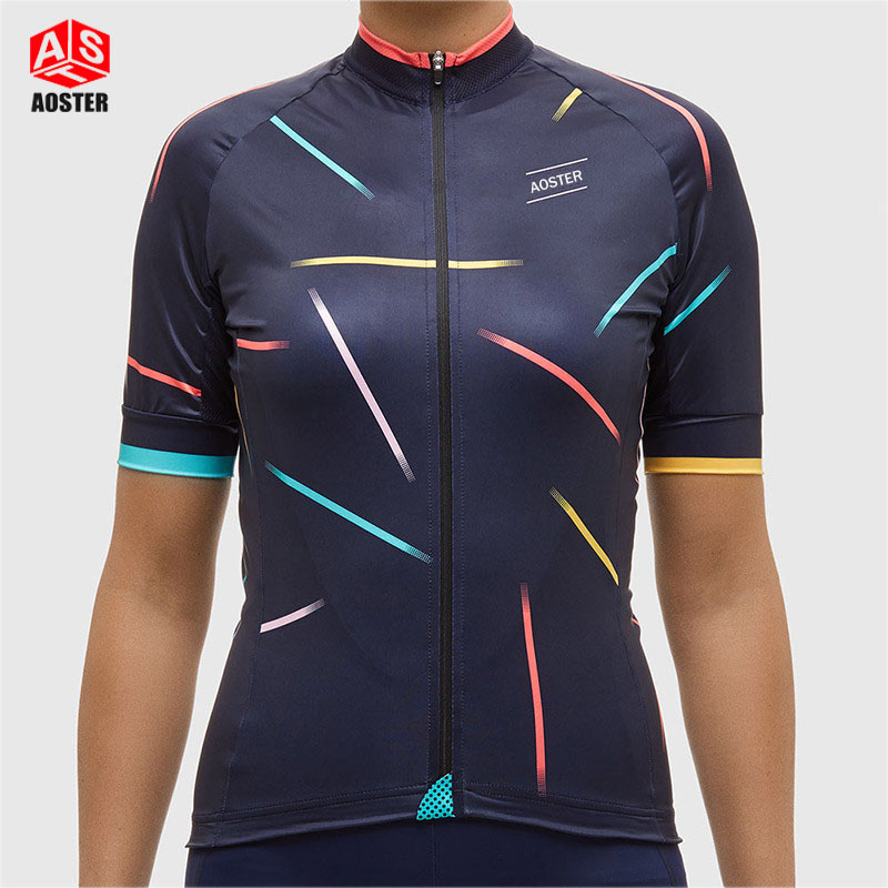 AOSTER 2017 New Beautiful Women Girls Cycling Jersey Cycling Clothing Maillot Ciclismo Sportwear Bike Clothes Breathable