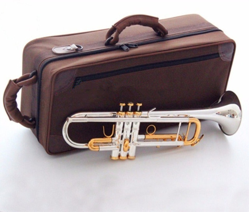 quality Bach Trumpet Original Silver plated GOLD KEY LT180S 72 Flat Bb Professional Trumpet bell Top musical instruments Brass