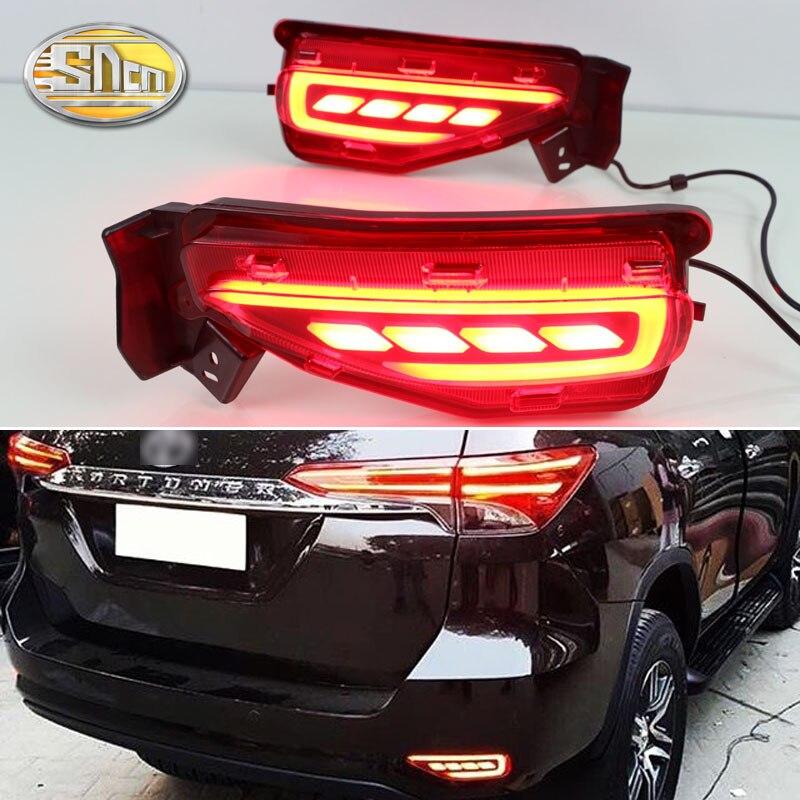 2PCS LED Rear Fog Lamp For Toyota Fortuner 2015 2016 2017 2018 Bumper Light Brake Light