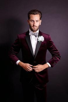Classic Design Velvet Groom Tuxedos Groomsmen Men's Wedding Prom Suits (Jacket+Pants+Tie) NO:242
