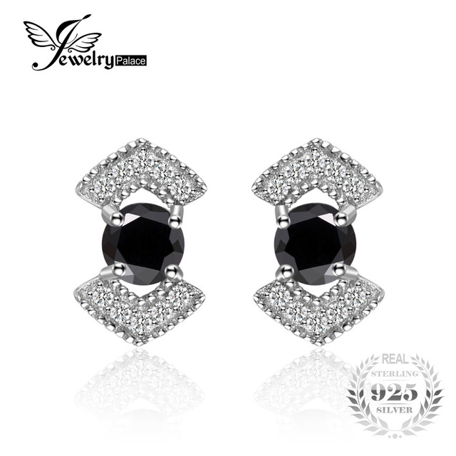 Jewelrypalace Elegant 0 73 Ct Genuine Black Spinel Studs Earrings 925 Sterling Silver Fine Jewelry For Women