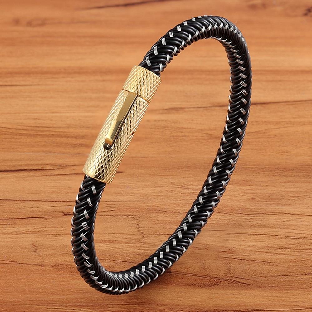 TYO Classic Ladies Black Handmade Braided Genuine Leather Bracelet Men Jewelry Wholesale Stainless Steel Metal Gold Clasp