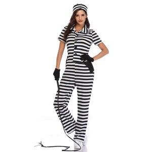 Umorden Vrouwen Gevangene Kostuum Opgesloten Cutie Kostuums Criminal Thema Party Cosplay Halloween Carnaval Mardi gras Outfit(China)