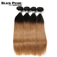 Black Pearl Hair Weave Ombre Honey Blonde Human Hair Bundles 1/4 PC Brazilian Straight Remy Human Hair Extension T1b27(China)