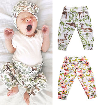 Home Toddler Infant Baby Boys Girls Cotton Cute Animals Pants Flower Trousers Pants Baby Girl 1