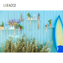 Photo Backdrops Tropical Surfboard Ship Wooden Wall Potted Flowers Baby Party Portrait Photographic Backgrounds Studio