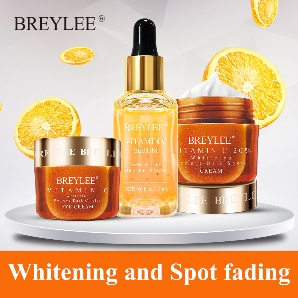 Breylee Vitamin C Whitening Cream Set Face Serum Eyes Cream Skin Care Facial Remove Dark Circles Fade Freckles Spots Melanin